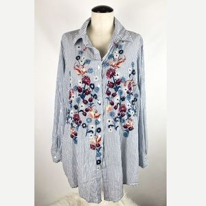 Style & Co Embroidered Front Button Up Blouse